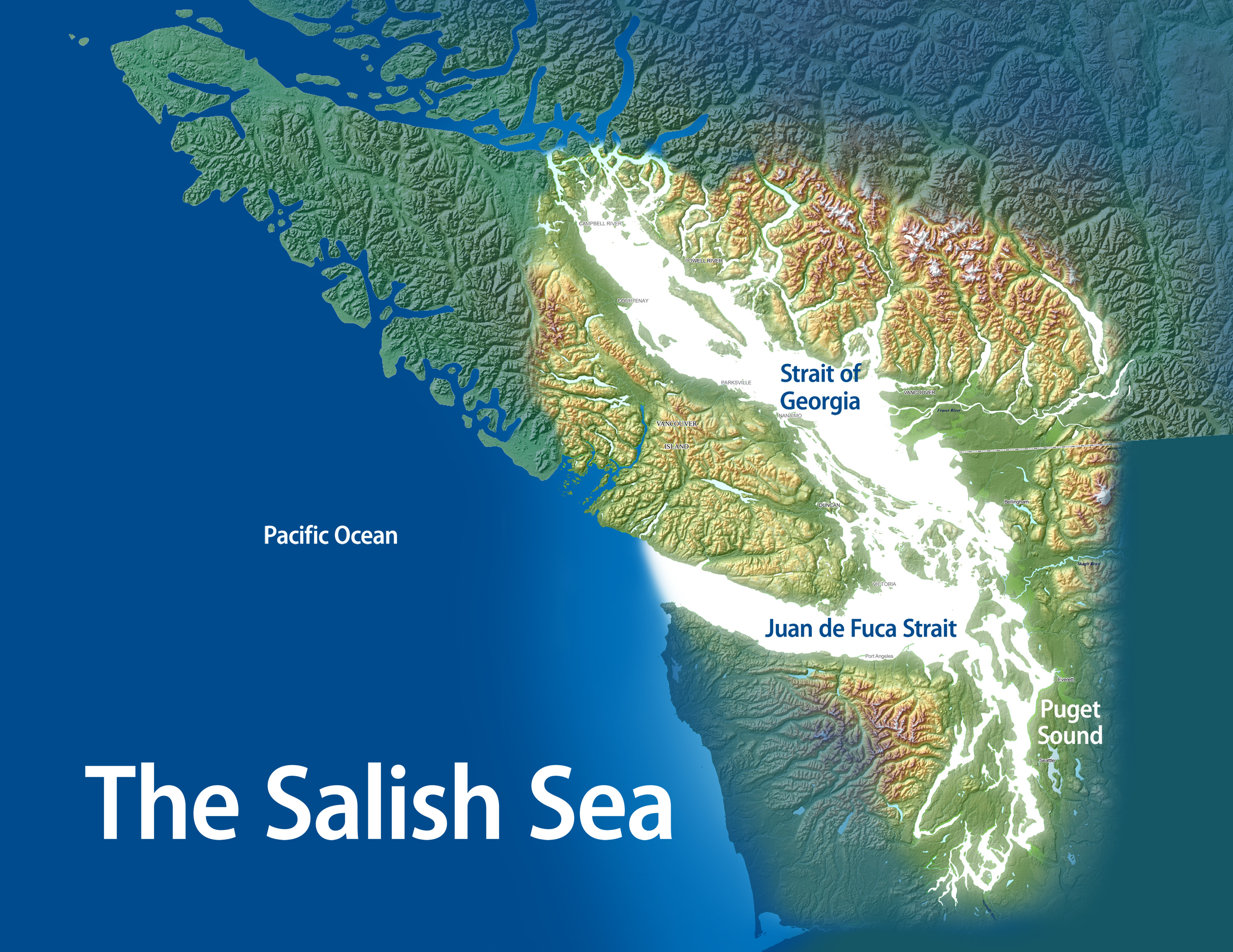 Salish Sea Bioregional Marine Sanctuary & Coastal Trail ~ Map ...